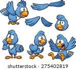 Cartoon Blue Bird In Different...