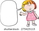 little girl talk with blank... | Shutterstock .eps vector #275425115