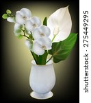 Illustration With White Orchid...