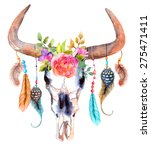 Watercolor Bull Skull With...