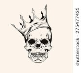 hand drawn sketch skull with...   Shutterstock .eps vector #275477435