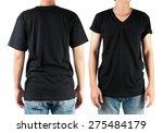 black t shirt on man template... | Shutterstock . vector #275484179