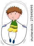 close up boy skipping on a jump ... | Shutterstock .eps vector #275490995