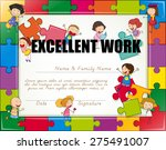 certificate with children... | Shutterstock .eps vector #275491007