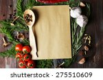 open recipe book with fresh... | Shutterstock . vector #275510609