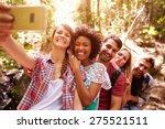 group of friends on walk taking ... | Shutterstock . vector #275521511