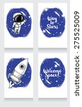cute hand drawn cosmic cards ... | Shutterstock .eps vector #275525009