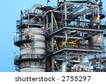 close up of oil refinery in the evening - stock photo