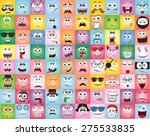 set of cartoon faces with... | Shutterstock .eps vector #275533835