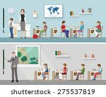 teacher with schoolchildren in... | Shutterstock .eps vector #275537819