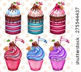 vintage cupcake collection... | Shutterstock .eps vector #275544437