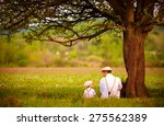father and son sitting under... | Shutterstock . vector #275562389