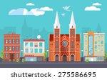 flat design urban landscape... | Shutterstock .eps vector #275586695