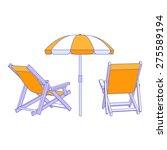 vector yellow deck chairs under ... | Shutterstock .eps vector #275589194