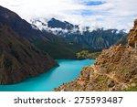 Phoksundo Lake view in the Nepal Himalaya. Phoksundo Lake is an alpine fresh water oligotrophic lake in Shey Phoksundo National Park, located in the Dolpa District.