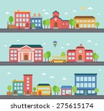 set of building icons in a town | Shutterstock .eps vector #275615174