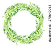 vector leaf watercolor wreath.... | Shutterstock .eps vector #275640065