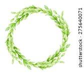 vector leaf watercolor wreath.... | Shutterstock .eps vector #275640071
