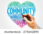 Small photo of Community word cloud, heart concept