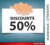 hand holding white paper  a... | Shutterstock .eps vector #275650595