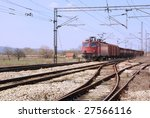 red old train on a railroad... | Shutterstock . vector #27566116