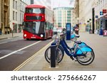 row of bicycles for rent with... | Shutterstock . vector #275666267