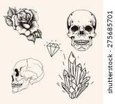 hand drawn set sketch skull... | Shutterstock .eps vector #275685701