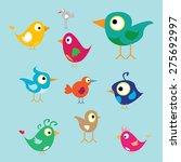 vector cute birds set | Shutterstock .eps vector #275692997