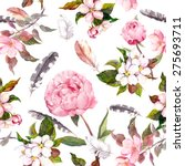 Stock photo peony flowers sakura feathers vintage seamless floral pattern watercolor 275693711