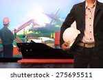 working man in ship port use... | Shutterstock . vector #275695511