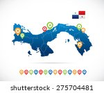 panama map with flag and... | Shutterstock .eps vector #275704481
