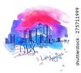 los angeles skyline watercolor... | Shutterstock .eps vector #275711999