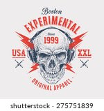 dotwork style skull with... | Shutterstock .eps vector #275751839