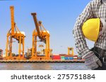 dock worker holding helmet for ... | Shutterstock . vector #275751884