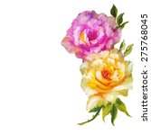 vintage pink and yellow roses... | Shutterstock . vector #275768045