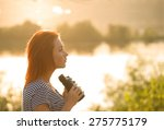 Girl With Binoculars At The...