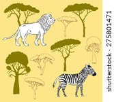 lion  zebra and savanna trees.... | Shutterstock .eps vector #275801471