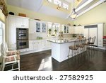 kitchen with white island and... | Shutterstock . vector #27582925