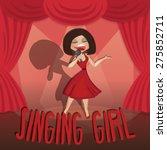 Beautiful Young Woman Singing...