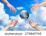 Four Humans Hands Reaching The...