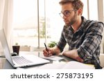 student busy taking notes down... | Shutterstock . vector #275873195