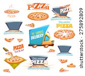 vector set of pizza icons ... | Shutterstock .eps vector #275892809