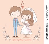 cute bride and groom on pastel... | Shutterstock .eps vector #275902994
