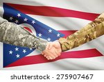 Soldiers handshake and US state flag - Ohio