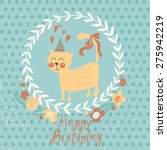 cute funny cat with a bow.... | Shutterstock .eps vector #275942219