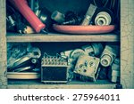 old electrical junk in shelf | Shutterstock . vector #275964011