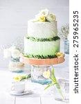 wedding rustic cake with flowers | Shutterstock . vector #275965235