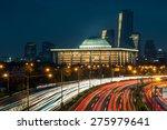 traffic blurs along the... | Shutterstock . vector #275979641