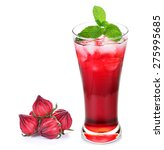 Small photo of Hibiscus sabdariffa or roselle fruits and roselle juice isolated on white background