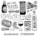 hand drawn food doodles | Shutterstock .eps vector #276002045